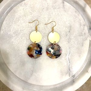 5/$25 Gold & Multicolor Round Earrings